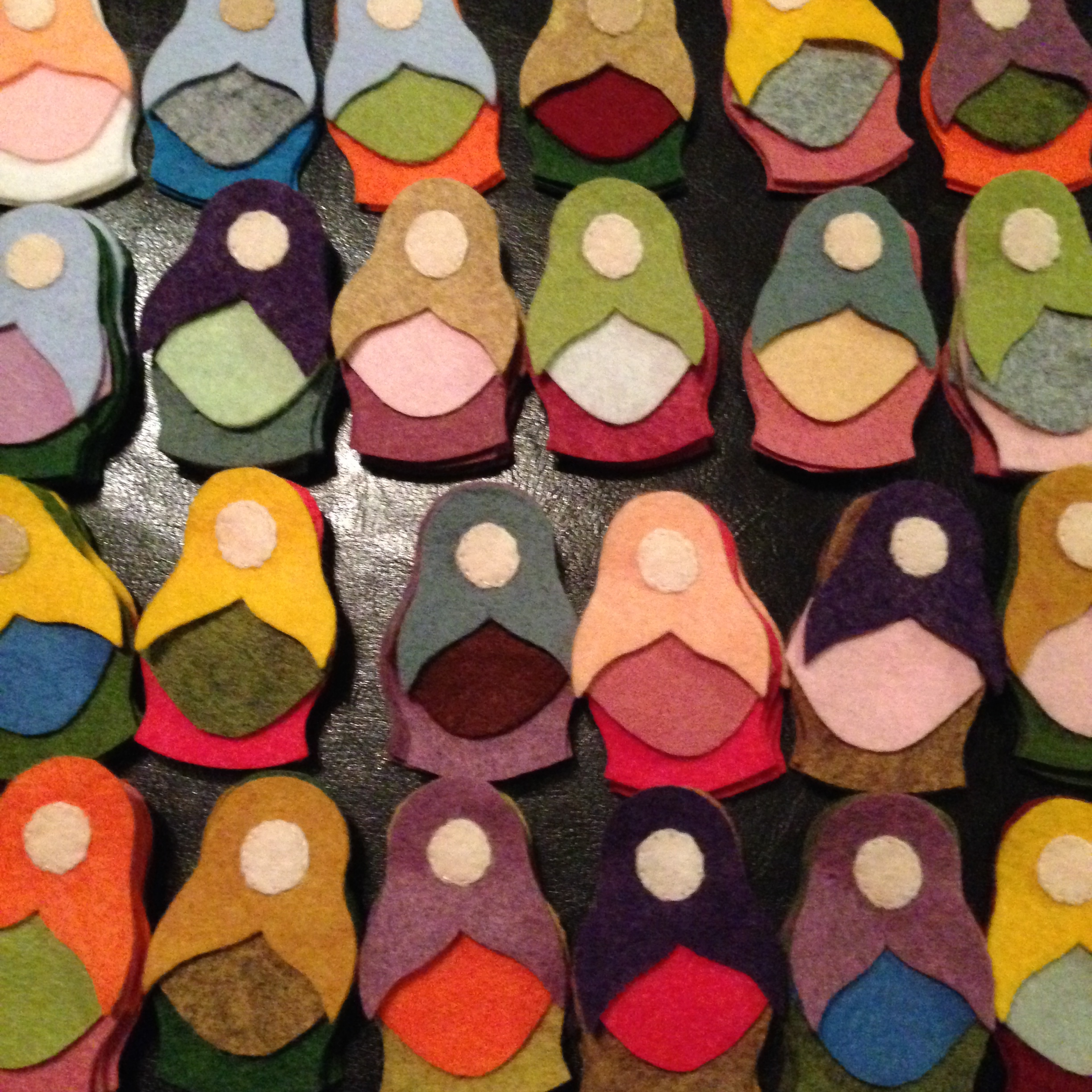 Faceless dollies (a bit creepy actually!) laid out for colour matching.